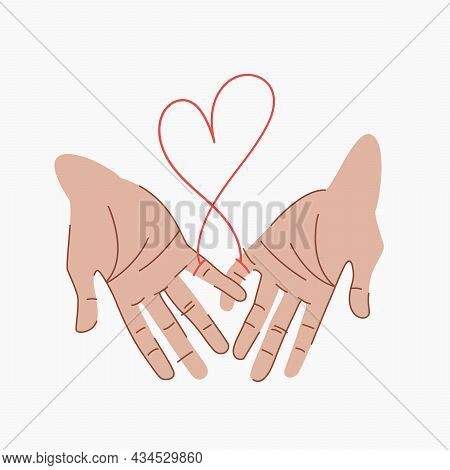 Red Thread Of Fate That Connects The Hands Of Lovers. Soulmates Hold On To Their Little Fingers. Red