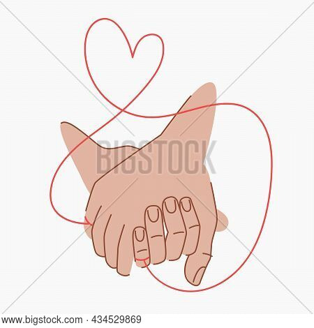 Red Thread Of Fate That Connects The Hands Of Lovers. Couple Holding Hands. Red Thread Of Fate In Th