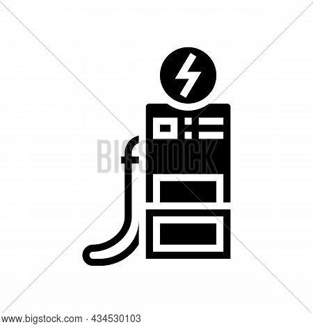 Operator Refuel Car, Gas Station Worker Service Glyph Icon Vector. Operator Refuel Car, Gas Station