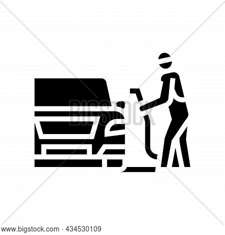 Refuel Car On Gas Station Glyph Icon Vector. Refuel Car On Gas Station Sign. Isolated Contour Symbol