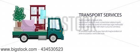 Green Freight Small Truck Is Transporting Furniture, Transportation And Cargo Delivery Services And