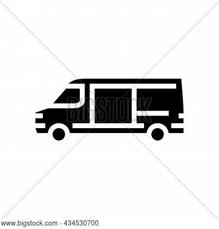 Cargo Van Car Glyph Icon Vector. Cargo Van Car Sign. Isolated Contour Symbol Black Illustration