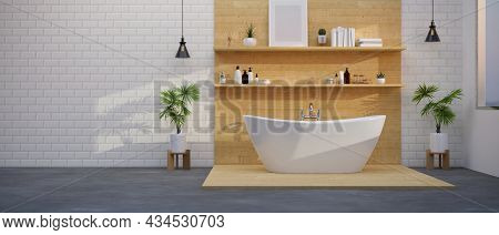 Modern Spacious Bathroom Interior With Comfortable Bathtub On Wood Floor