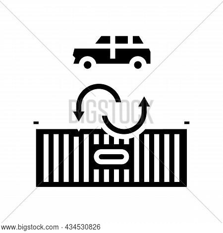 Import Car Glyph Icon Vector. Import Car Sign. Isolated Contour Symbol Black Illustration