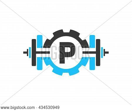 Fitness Gym Logo On Letter P. Fitness Club Icon With Exercising Equipment. Initial Alphabet Letter P