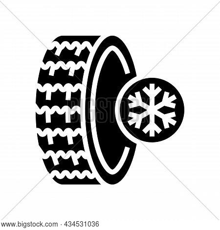 Ice Winter Season Tires Glyph Icon Vector. Ice Winter Season Tires Sign. Isolated Contour Symbol Bla