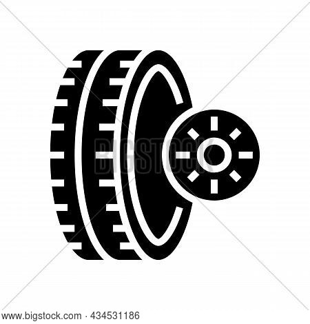 Summer Season Tires Glyph Icon Vector. Summer Season Tires Sign. Isolated Contour Symbol Black Illus