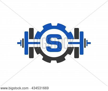 Fitness Gym Logo On Letter S. Fitness Club Icon With Exercising Equipment. Initial Alphabet Letter S