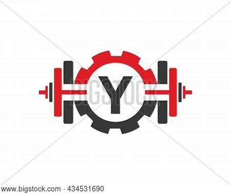 Fitness Gym Logo On Letter Y. Fitness Club Icon With Exercising Equipment. Initial Alphabet Letter Y