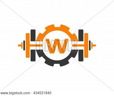 Fitness Gym Logo On Letter W. Fitness Club Icon With Exercising Equipment. Initial Alphabet Letter W