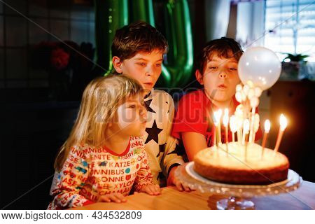 Adorable Kid Boy Celebrating Tenth Birthday. Little Toddler Girl, Sister Child And Two Kids Boys Bro