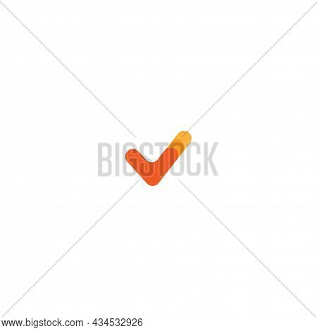 Valid Seal Icon. Red Tick . Flat Ok Sticker Icon. Check Mark. Isolated On White. Accept Button. Good