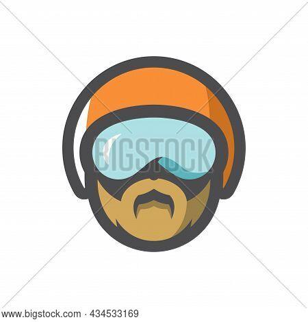 Sport Helmet Men Head Vector Icon Cartoon Illustration