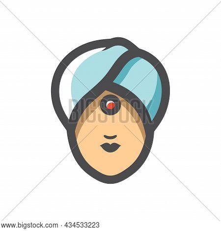 Indian Girl Head Simple Vector Icon Cartoon Illustration