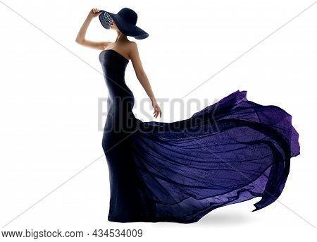 Woman In Black Purple Dress With Long Train Back. Luxury Fashion Model In Evening Shining Glitter Go