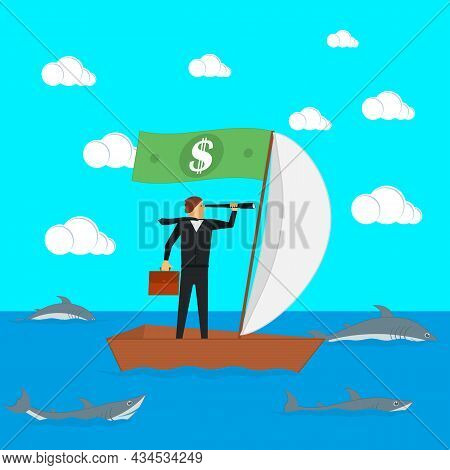 The Concept Of Risks In Business And Management. A Businessman On A Sailing Boat Looks Through A Spy