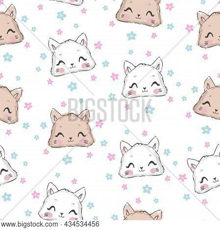 Cute Cat Seamless Pattern, Hand Drawn Design Vector Illustration