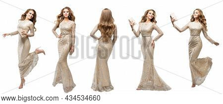 Fashion Woman In Long Holiday Dress Set. Beauty Model In Silver Sequin Sparkly Lace Evening Gown Ove