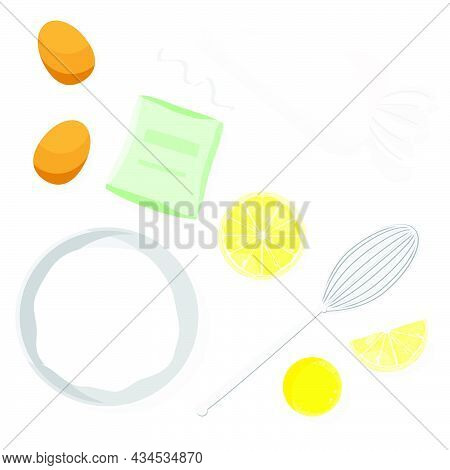 Set Of Food Ingredients For Making Icing. Vector Illustration Flat.