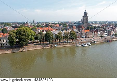Aerial view of the Dutch medieval city of Deventer in The Netherlands