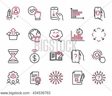 Vector Set Of Technology Icons Related To Report Timer, Yummy Smile And Reject File Icons. Checkbox,