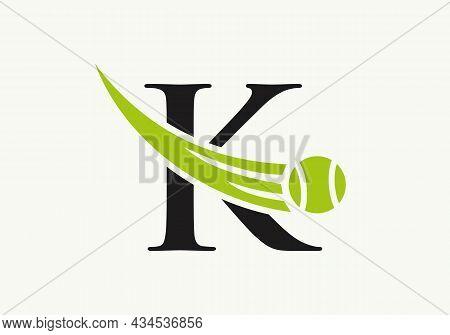Tennis Logo Design Template On Letter K. Tennis Sport Academy, Club Logo With K Letter