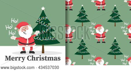 Christmas Holiday Season Banner With Merry Christmas Text And Seamless Pattern Of Santa Claus With C