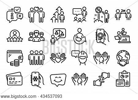 Vector Set Of Foreman, Discount And Group Line Icons Set. Calendar Report, Money Wallet And Credit C