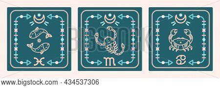 A Set Of Vector Maps With Water Signs Of The Zodiac. Astrological Cards.