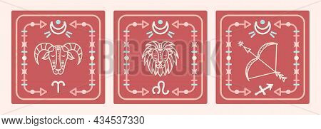 A Set Of Vector Maps With Fiery Zodiac Signs. Astrological Cards.