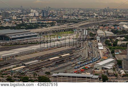 Bangkok, Thailand - Jul, 25, 2020 : Aerial View Of Bang Sue Central Station, The New Railway Hub Tra