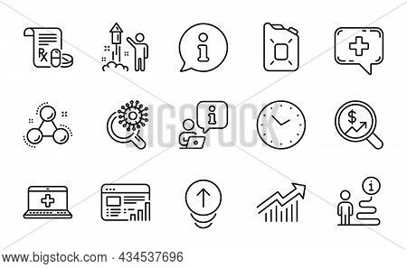Science Icons Set. Included Icon As Canister Oil, Web Report, Medical Prescription Signs. Demand Cur