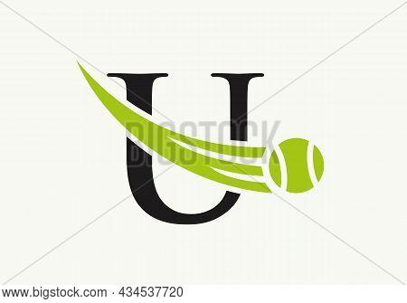 Tennis Logo Design Template On Letter U. Tennis Sport Academy, Club Logo With U Letter