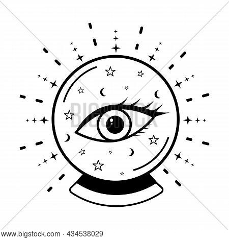 Magic Crystal Ball With Eye Of Providence Outline Icon Vector Illustration. Halloween Witch Attribut