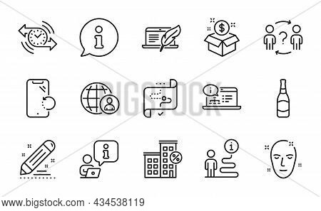 Business Icons Set. Included Icon As Loan House, Health Skin, Beer Bottle Signs. Smartphone Recovery