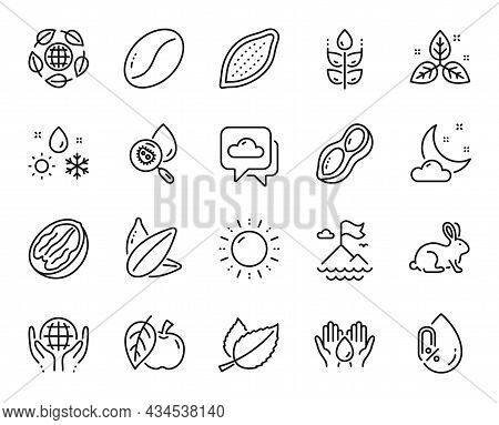 Vector Set Of Fair Trade, Mountain Flag And Coffee Beans Line Icons Set. Weather, Peanut And No Alco