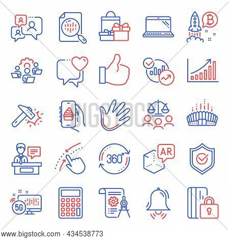 Business Icons Set. Included Icon As Analytics Chart, Graph Chart, Hammer Blow Signs. Clock Bell, Sw
