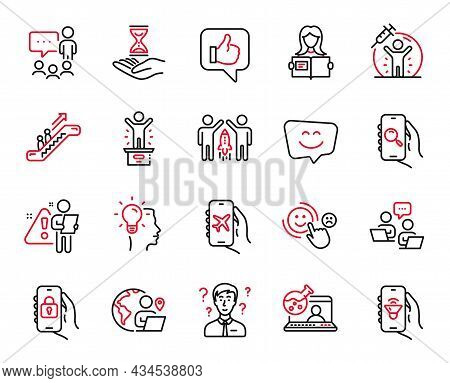 Vector Set Of People Icons Related To Idea, Vaccine Protection And Online Chemistry Icons. Outsource