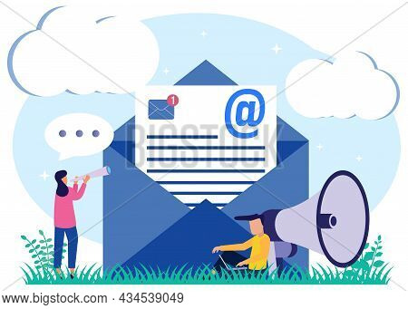 Vector Illustration, Young Man Stand On A Mailbox With Letters, Receiving Letters, Sorting, Web Lett