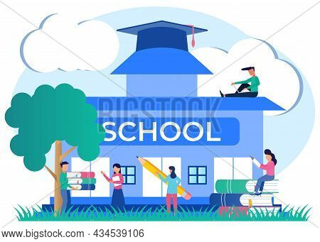 Vector Illustration Of Flat Style Education Concept With Student And Student Characters And Book Ico