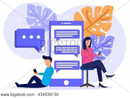 Vector Illustration Of Modern Style Online Messaging, Communication Via Internet, Social Media, Chat