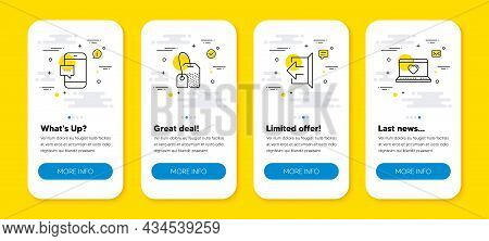 Vector Set Of Tea Bag, Smartphone Message And Sign Out Line Icons Set. Ui Phone App Screens With Lin