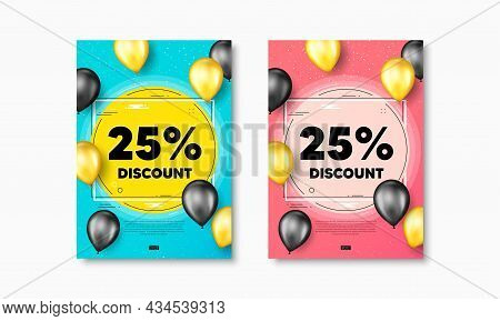 25 Percent Discount. Flyer Posters With Realistic Balloons Cover. Sale Offer Price Sign. Special Off