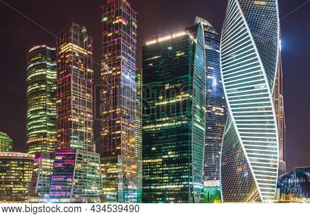 Moscow City At Night. Modern Skyscrapers In Moscow-city Downtown, Federation Tower, Mercury Tower Et