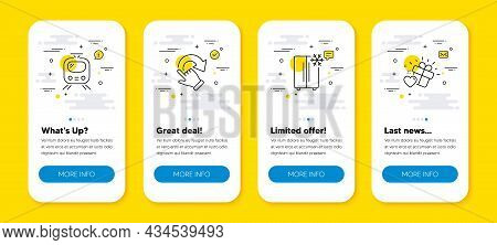 Vector Set Of Rotation Gesture, Refrigerator And Train Line Icons Set. Ui Phone App Screens With Lin