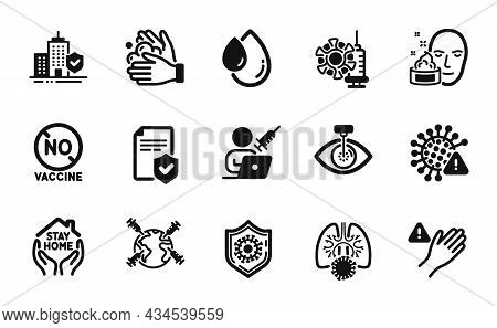 Vector Set Of Stay Home, Coronavirus Vaccine And No Vaccine Icons Simple Set. World Vaccination, Oil