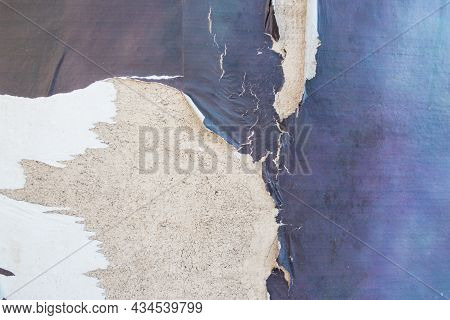 Old White And Blue Grunge Ripped Torn Collage Posters Creased Crumpled Paper Placard On The Wall Bac