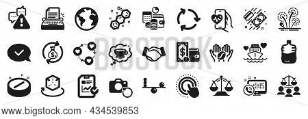 Set Of Business Icons, Such As Recovery Photo, Court Jury, Payment Icons. Cardio Training, Chemical