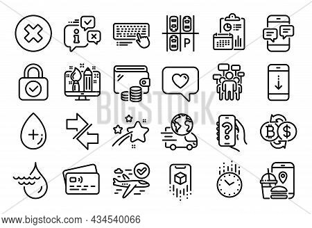 Vector Set Of Love Message, Delivery Service And Augmented Reality Line Icons Set. Calendar Report,