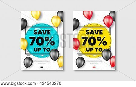 Save Up To 70 Percent. Flyer Posters With Realistic Balloons Cover. Discount Sale Offer Price Sign.